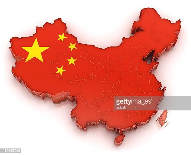 China carte avec drapeau