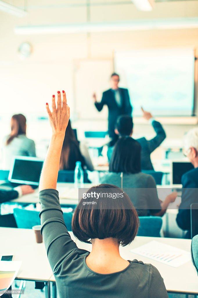 Strukturierte hand, Geschäftsseminare, Bildung und Erziehung : Stock-Foto
