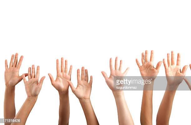 Heben Hände auf weißem Hintergrund