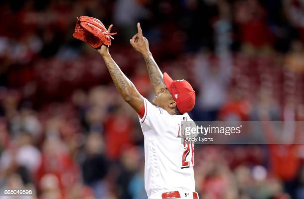 Raisel Iglesias of the Cincinnati Reds celebrates after the final out of the 20 win over the Philadelphia Phillies at Great American Ball Park on...