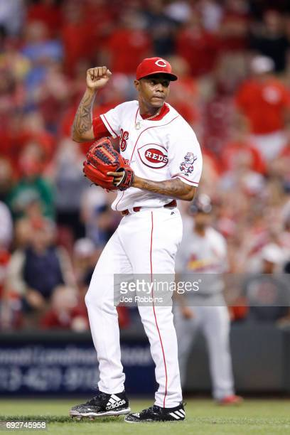 Raisel Iglesias of the Cincinnati Reds celebrates after the final out in the ninth inning of a game against the St Louis Cardinals at Great American...
