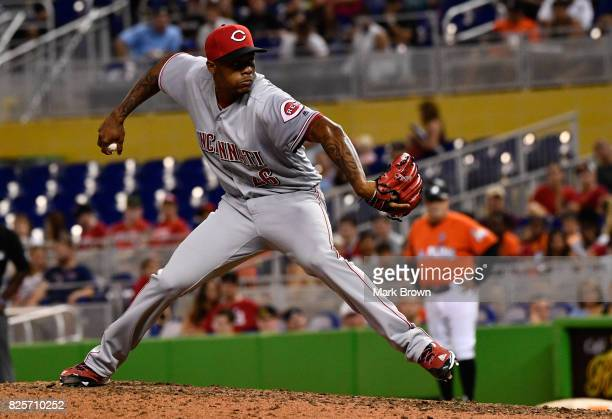 Raisel Iglesias of the Cincinnati Reds in action during the game between the Miami Marlins and the Cincinnati Reds at Marlins Park on July 30 2017 in...