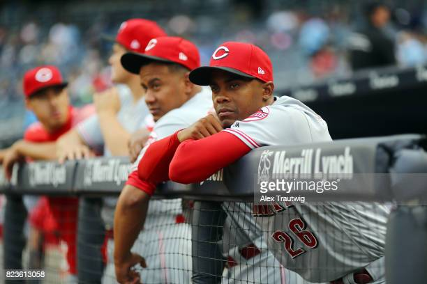 Raisel Iglesias of the Cincinnati Reds looks on during batting practice ahead of the game against the New York Yankees at Yankee Stadium on Tuesday...