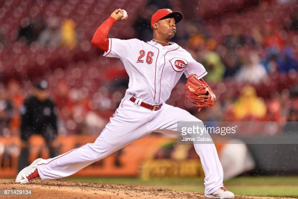 Raisel Iglesias of the Cincinnati Reds pitches against the Baltimore Orioles at Great American Ball Park on April 20 2017 in Cincinnati Ohio