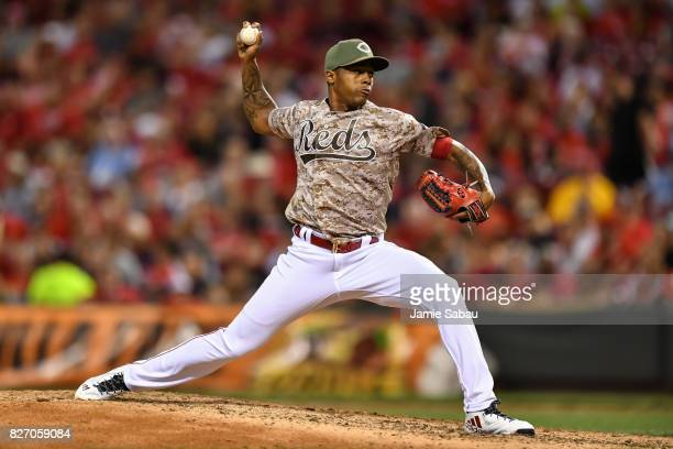 Raisel Iglesias of the Cincinnati Reds pitches against the St Louis Cardinals at Great American Ball Park on August 4 2017 in Cincinnati Ohio