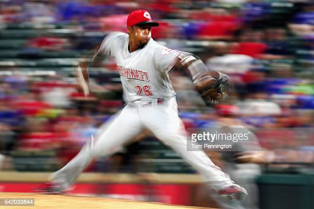 Raisel Iglesias of the Cincinnati Reds pitches against the Texas Rangers in the bottom of the eighth inning at Globe Life Park in Arlington on June...