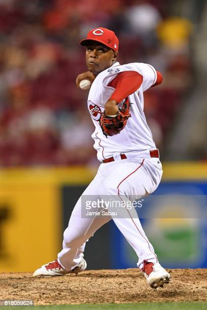 Raisel Iglesias of the Cincinnati Reds pitches against the Washington Nationals at Great American Ball Park on July 15 2017 in Cincinnati Ohio