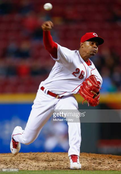 Raisel Iglesias of the Cincinnati Reds pitches during the ninth inning against the New York Yankees at Great American Ball Park on May 9 2017 in...
