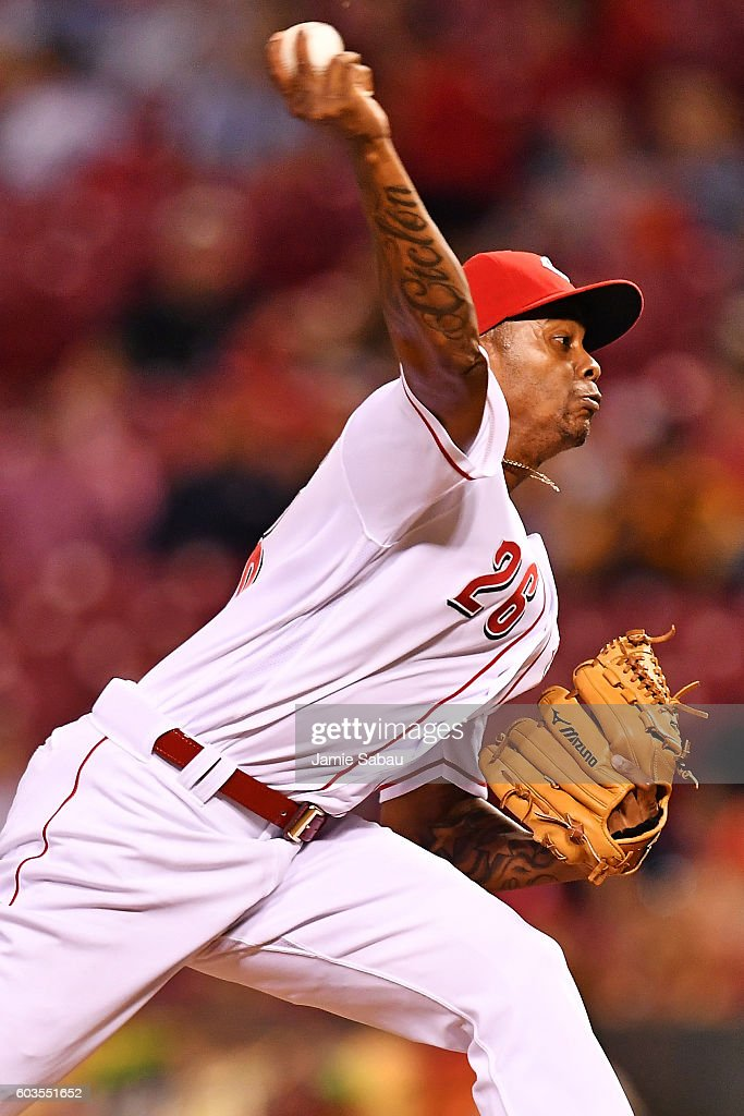 Raisel Iglesias #26 of the Cincinnati Reds pitches in the eighth inning against the Milwaukee Brewers at Great American Ball Park on September 12, 2016 in Cincinnati, Ohio. Cincinnati defeated Milwaukee 3-0.