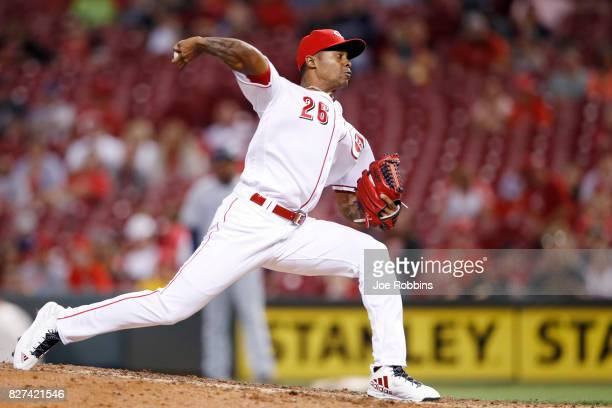 Raisel Iglesias of the Cincinnati Reds pitches in the ninth inning of a game against the San Diego Padres at Great American Ball Park on August 7...