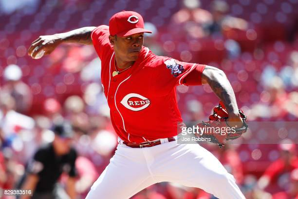 Raisel Iglesias of the Cincinnati Reds pitches in the ninth inning of a game against the San Diego Padres at Great American Ball Park on August 10...