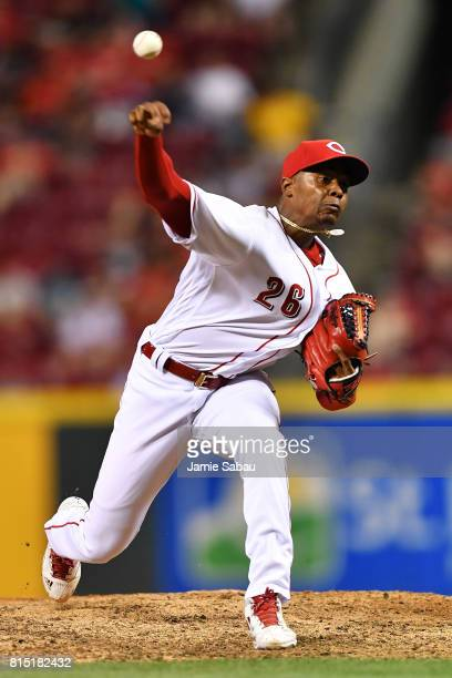 Raisel Iglesias of the Cincinnati Reds pitches in the ninth inning against the Washington Nationals at Great American Ball Park on July 15 2017 in...
