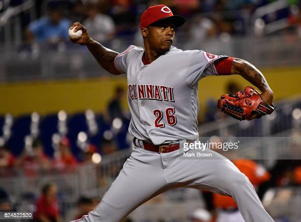 Raisel Iglesias of the Cincinnati Reds pitches in the ninth inning during the game between the Miami Marlins and the Cincinnati Reds at Marlins Park...