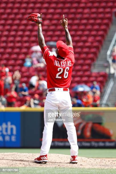 Raisel Iglesias of the Cincinnati Reds reacts after pitching the final out in the ninth inning of a game against the Miami Marlins at Great American...