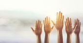 Silhouette, Raising Hands for Participation, many people's hands up. copy space