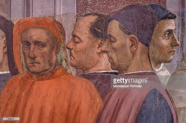 Raising of the Son of Theophilus and Saint Peter Enthroned by Masaccio and Filippino Lippi 14271485 15th Century fresco 230 x 599 cm Italy Florence...