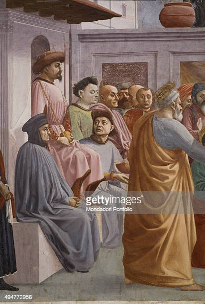 Raising of the Son of Theophilus and Saint Peter Enthroned by Masaccio and Filippino Lippi 14271485 15th Century fresco 230 x 599 cm Italy Tuscany...