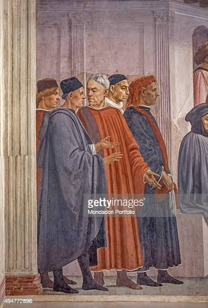 Raising of the Son of Theophilus and Saint Peter Enthroned by Masaccio Filippino Lippi 14271485 15th Century fresco 230 x 599 cm Italy Florence...