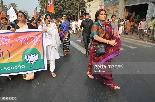 Raising the Red Road hit and run case and asking for justice for the same BJP in Kolkata marched in a rally towards Lalbazar led by Rupa Ganguly on...