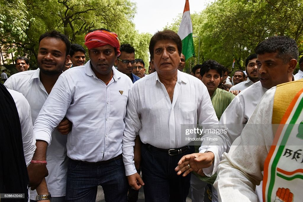 Raj Babbar during Congress party march from Jantar Mantar to Parliament on May 6, 2016 in New Delhi, India. The protest march called to highlight what the Congress party terms as Modis attack on democracy saw thousands of party workers gather at Jantar Mantar, the countrys protest capital. Congress president Sonia Gandhi, party vice-president Rahul Gandhi and former prime minister Manmohan Singh were briefly arrested and then released at the Parliament Street police station.