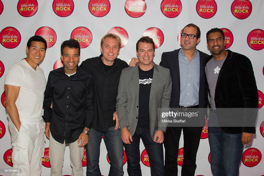 Raj Kapoor, Tim Chang, Philip Kaplan, Ethan Beard, Prashant Fuloria and Kristian Segerstrale of Coverflow arriving to Littke Kids Rock fundraiser in Facebook HQ on November 9, 2013 in Menlo Park, California.