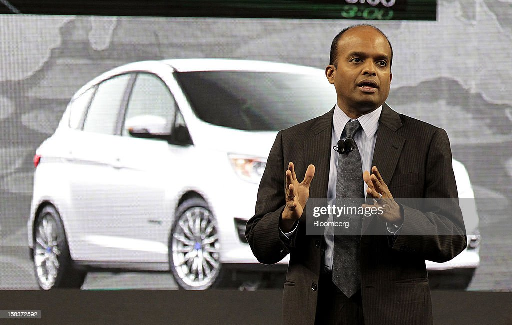 Raj Nair, group vice president of global product development for Ford Motor Co., speaks during an event at Ford Field in Detroit, Michigan, U.S., on Friday, Dec. 14, 2012. Ford Motor Co. is talking to the U.S. Environmental Protection Agency about how it tests fuel economy performance on new vehicles following reports that the automaker's hybrids are falling short of mileage promises. Photographer: Jeff Kowalsky/Bloomberg via Getty Images