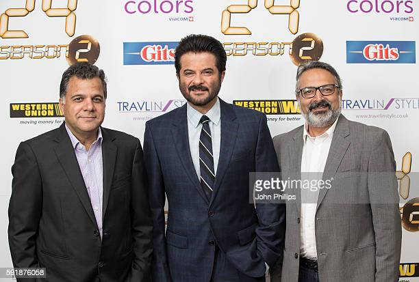 Raj Nayak Anil Kapoor and Anuj Gandhi pose for photographers ahead of a Press confrence for the TV series '24' at Montcalm Hotel on August 18 2016 in...