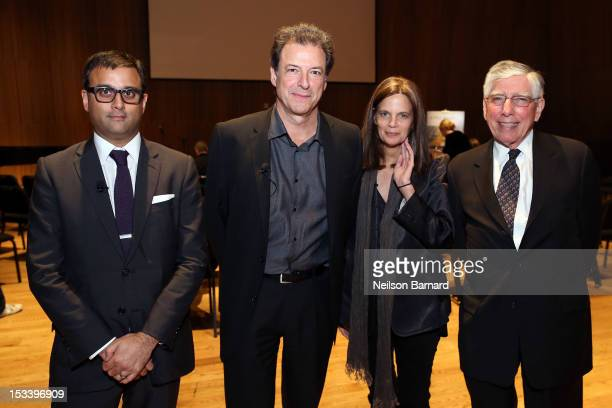 Raj Patel of Arup Sound Lab architect Richard Olcott of Ennead Architects artist Mary Ellen Carroll and architect Hugh Hardy of H3 Hardy attend the...
