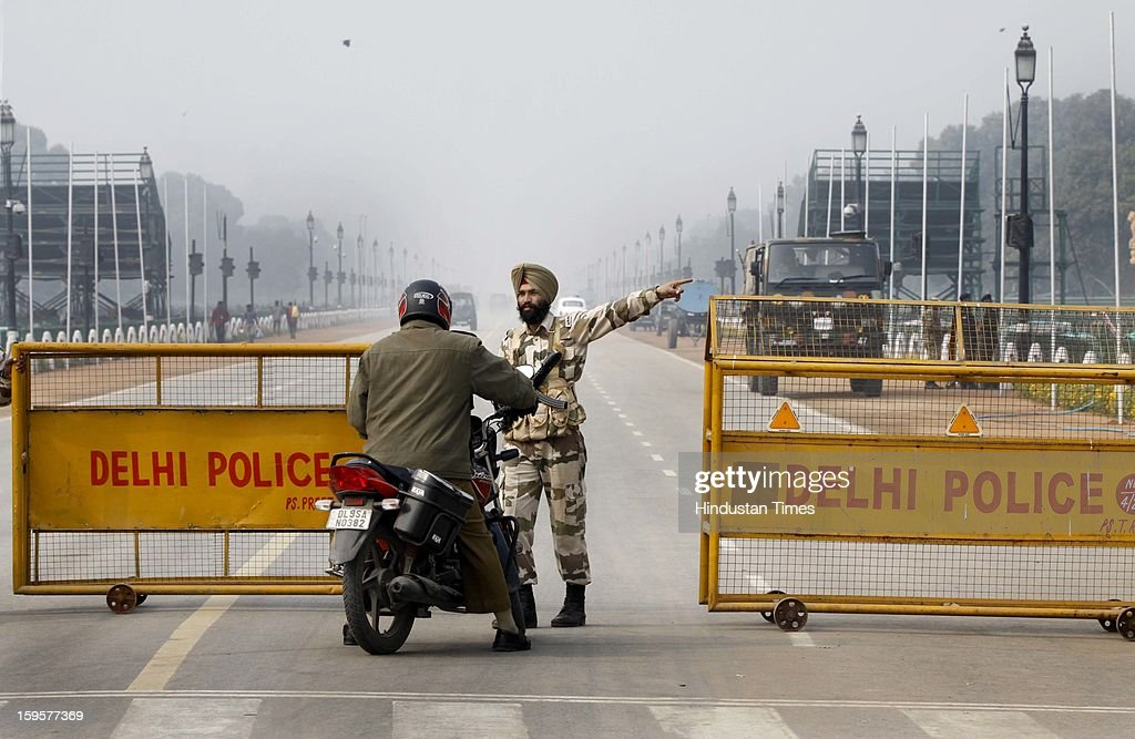 Raj Path is out of bound for common people due to tight security in the wake of Republic Day rehearsals at India Gate lawns on January 16, 2013 in New Delhi, India.