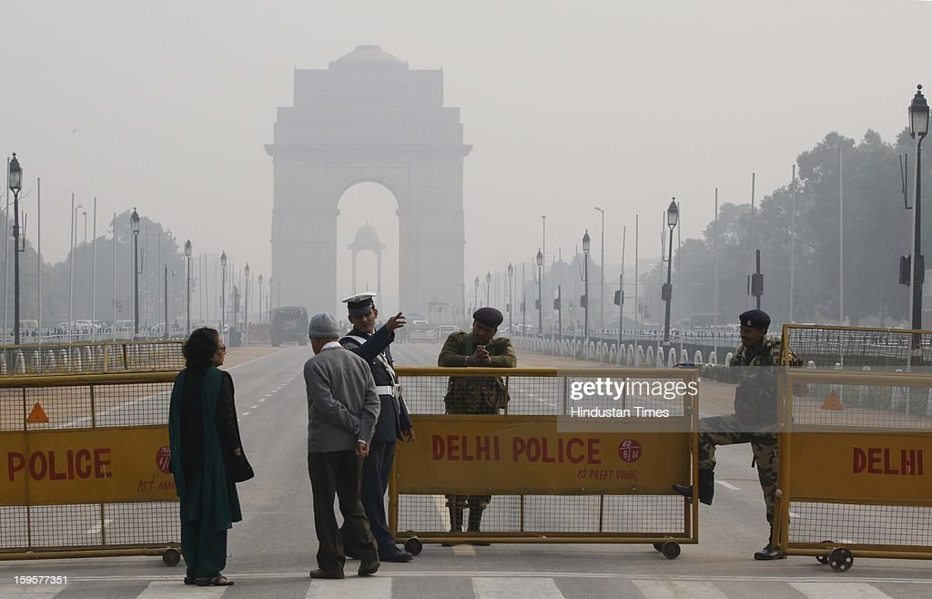 Raj Path is out of bounds for common people due to tight security in the wake of republic day rehearsals at the India Gate lawns on January 16, 2013 in New Delhi, India.