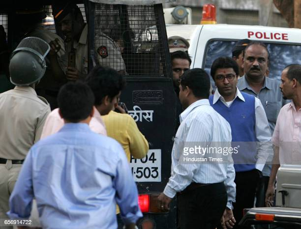 Raj Thackeray Arrest Maharashtra Navnirman Sena Chief Raj Thackeray being escorted after his arrest at his residence in Mumbai on Wednesday
