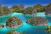 Limestone islets and tropical lagoon in the Raja Ampat islands, West Papua