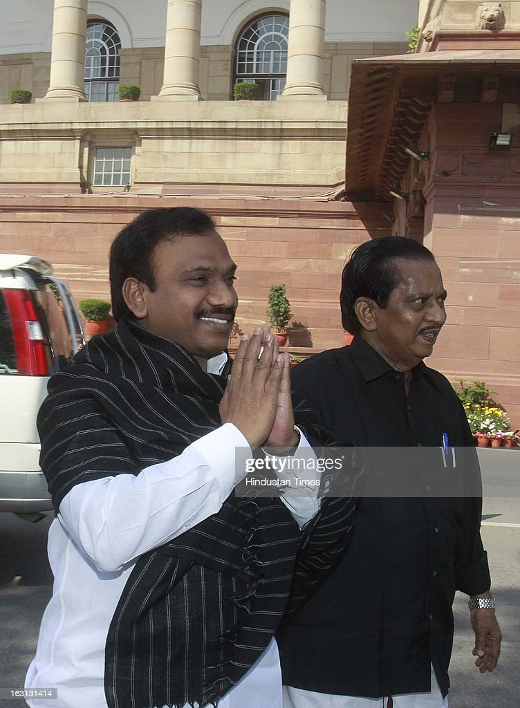 Raja arrive at parliament during a protest against Sri Lankan President Mahinda Rajapaksa as they condemn the killing of Tamilians in Sri Lanka at Parliament House on March 5, 2013 in New Delhi, India. Both houses of Parliament were adjourned till noon after opposition parties raised various issues including the killing of a police officer in Uttar Pradesh and protests over the alleged killing of slain LTTE chief Prabhakaran's son in custody by Sri Lankan forces.
