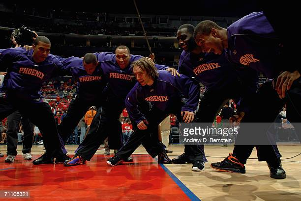 Raja Bell Boris Diaw Shawn Marion Steve Nash Tim Thomas and Leandro Barbosa of the Phoenix Suns get pumped up before the game against the Los Angeles...
