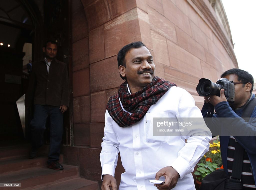 A. Raja former Union minister for Communication and IT at the Parliament house, beginning of the budget session on February 21, 2013 in New Delhi, India.