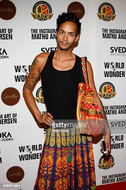 Raja Gemini attends the instagram art of Mathu Andersen exhibition opening party at World Of Wonder on November 13 2014 in Hollywood California