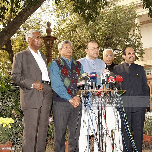 Raja Sitaram Yechury Arun Jaitly and Amar Singh address the media at Parliament after filing the petition for CJ Dinakaran's impeachment in Rajya...