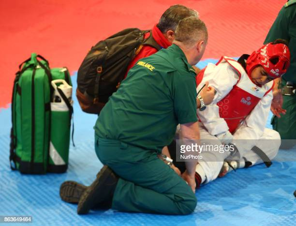 Rajae Akermach of Morocco picks up a injury in the K44 F 58KG Final during 7th World Para Taekwondo Championships 2017 at Copper Box Arena London on...