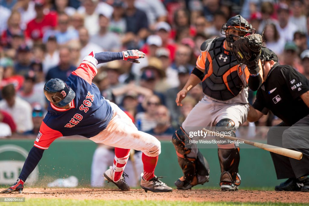 Rajai Davis #25 of the Boston Red Sox ducks out of the way of a pitch during the fifth inning of a game against the Baltimore Orioles on August 27, 2017 at Fenway Park in Boston, Massachusetts.