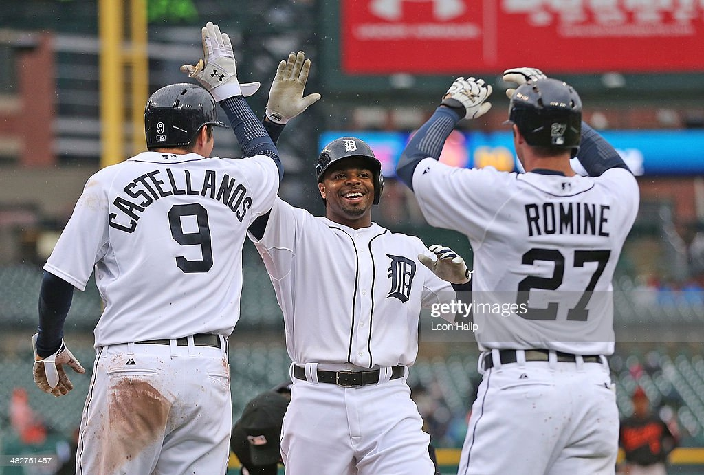 Rajai Davis 20 Of The Detroit Tigers Celebrates After Hitting A Three Run Home