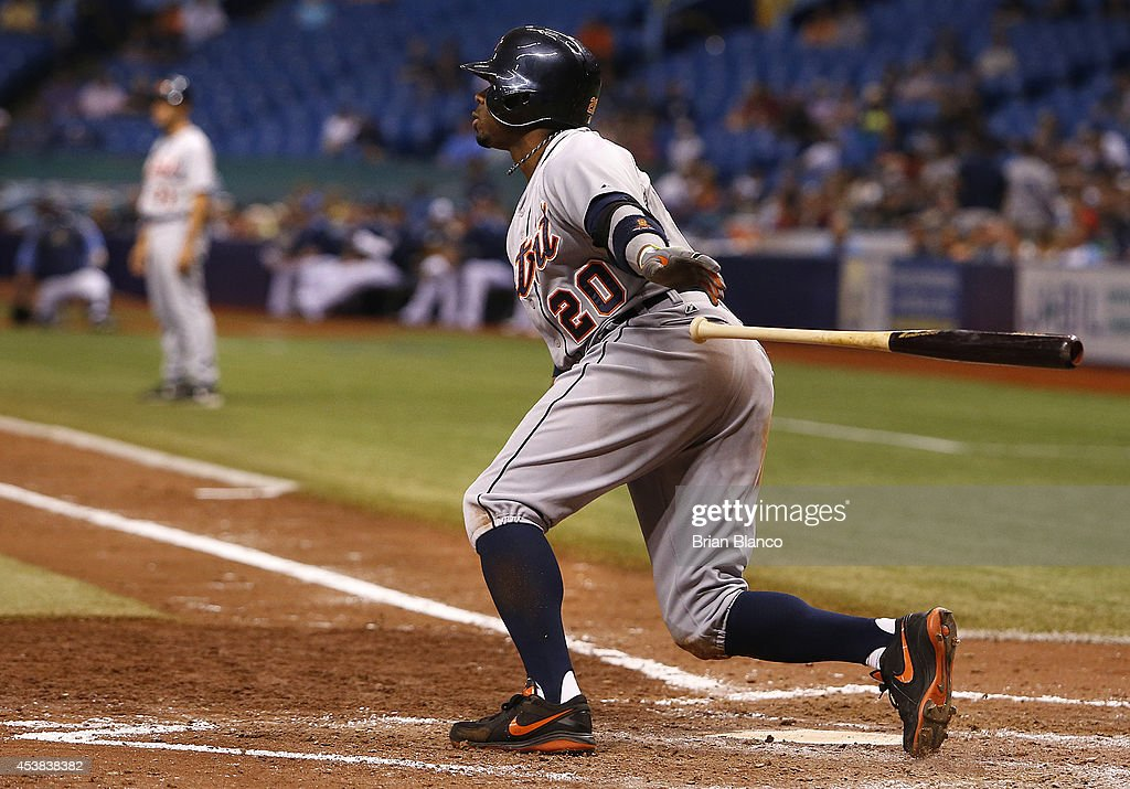 <a gi-track='captionPersonalityLinkClicked' href=/galleries/search?phrase=Rajai+Davis&family=editorial&specificpeople=810608 ng-click='$event.stopPropagation()'>Rajai Davis</a> #20 of the Detroit Tigers hits an RBI single to score Alex Avila during the sixth inning of a game against the Tampa Bay Rays on August 19, 2014 at Tropicana Field in St. Petersburg, Florida.