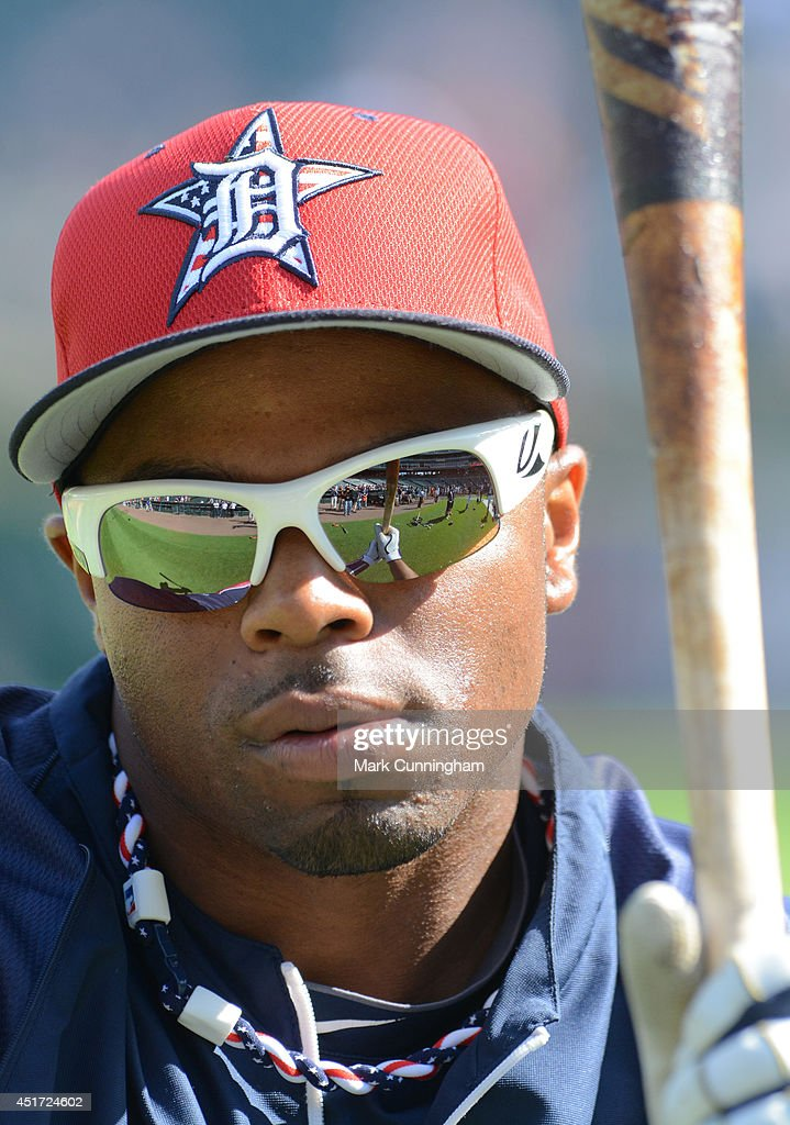 Rajai Davis #20 of the Detroit Tigers looks on during batting practice while wearing a special red, white and blue hat to honor Independence Day prior to the game against the Tampa Bay Rays at Comerica Park on July 4, 2014 in Detroit, Michigan. The Rays defeated the Tigers 6-3.