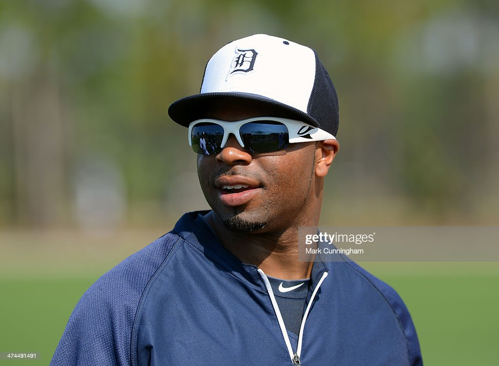 <a gi-track='captionPersonalityLinkClicked' href=/galleries/search?phrase=Rajai+Davis&family=editorial&specificpeople=810608 ng-click='$event.stopPropagation()'>Rajai Davis</a> #20 of the Detroit Tigers looks on during the spring training workout day at the TigerTown complex on February 23, 2014 in Lakeland, Florida.