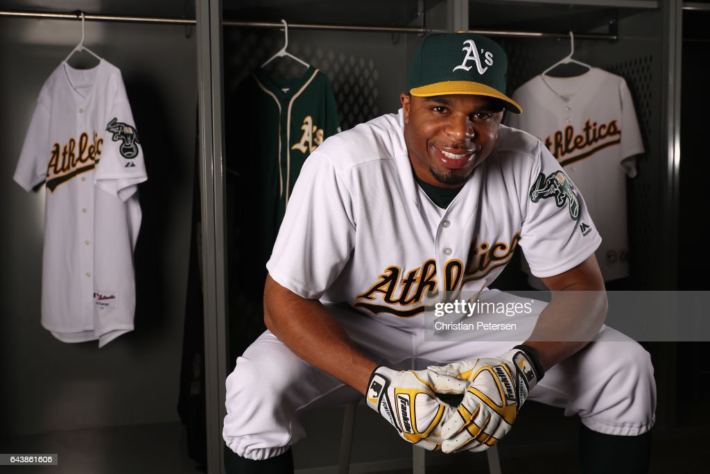 Rajai Davis #11 of the Oakland Athletics poses for a portrait during photo day at HoHoKam Stadium on February 22, 2017 in Mesa, Arizona.