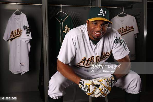 Rajai Davis of the Oakland Athletics poses for a portrait during photo day at HoHoKam Stadium on February 22 2017 in Mesa Arizona
