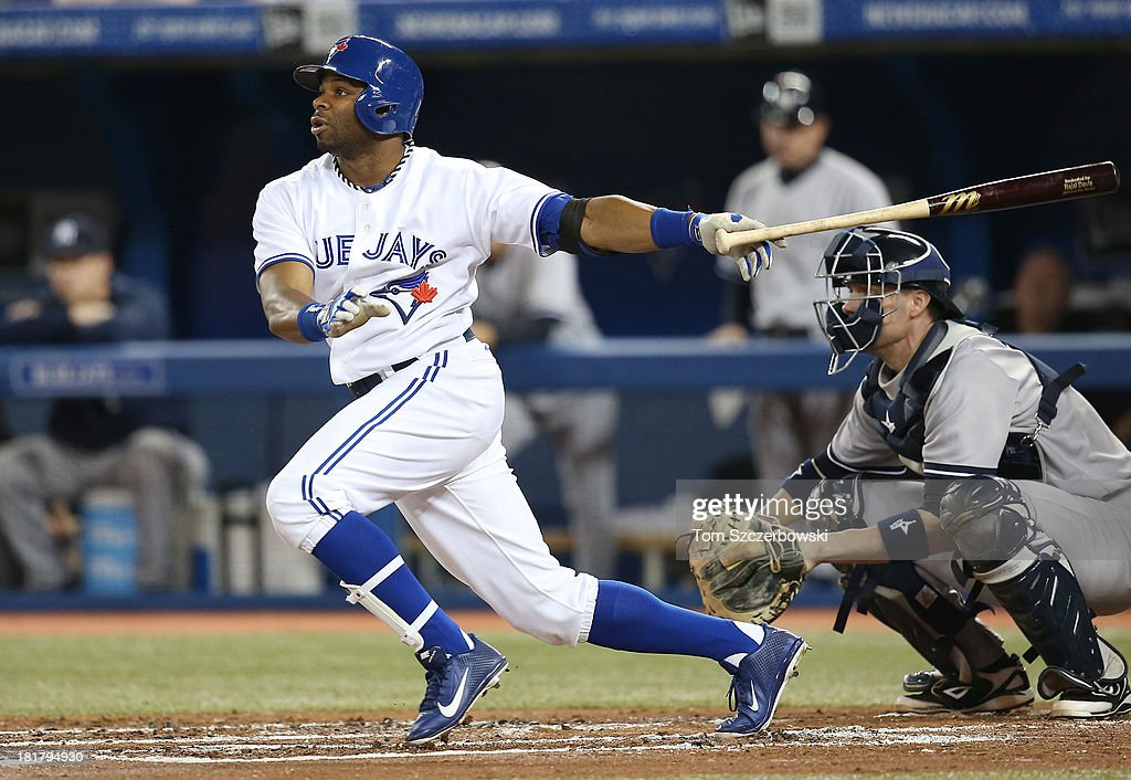 <a gi-track='captionPersonalityLinkClicked' href=/galleries/search?phrase=Rajai+Davis&family=editorial&specificpeople=810608 ng-click='$event.stopPropagation()'>Rajai Davis</a> #11 of the Toronto Blue Jays bats in the first inning during MLB game action against the New York Yankees on September 17, 2013 at Rogers Centre in Toronto, Ontario, Canada.