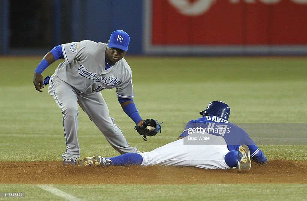<a gi-track='captionPersonalityLinkClicked' href=/galleries/search?phrase=Rajai+Davis&family=editorial&specificpeople=810608 ng-click='$event.stopPropagation()'>Rajai Davis</a> #11 of the Toronto Blue Jays is tagged out stealing second base by <a gi-track='captionPersonalityLinkClicked' href=/galleries/search?phrase=Yuniesky+Betancourt&family=editorial&specificpeople=550744 ng-click='$event.stopPropagation()'>Yuniesky Betancourt</a> #11 of the Kansas City Royals during MLB game action July 3, 2012 at Rogers Centre in Toronto, Ontario, Canada.