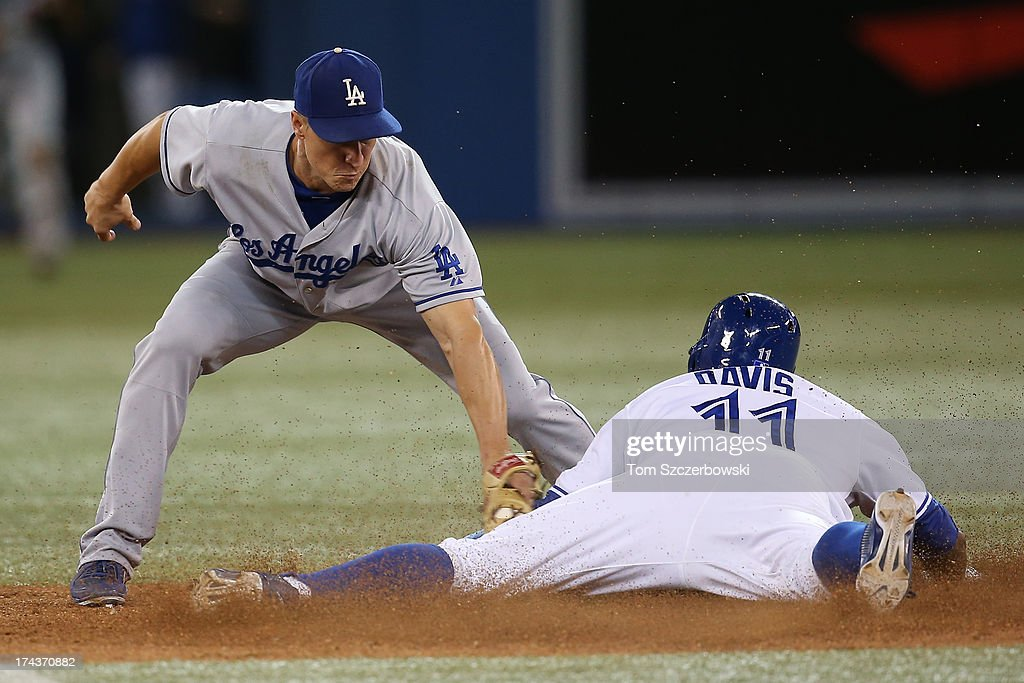 <a gi-track='captionPersonalityLinkClicked' href=/galleries/search?phrase=Rajai+Davis&family=editorial&specificpeople=810608 ng-click='$event.stopPropagation()'>Rajai Davis</a> #11 of the Toronto Blue Jays steals second base in the eighth inning during MLB game action as <a gi-track='captionPersonalityLinkClicked' href=/galleries/search?phrase=Mark+Ellis+-+Baseball+Player&family=editorial&specificpeople=213759 ng-click='$event.stopPropagation()'>Mark Ellis</a> #14 of the Los Angeles Dodgers applies the late tag on July 24, 2013 at Rogers Centre in Toronto, Ontario, Canada.