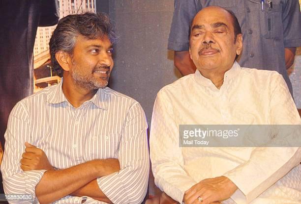 Rajamouli and Ramanaidu during a press meet at Viswaroopam audio release in Mumbai on Sunday