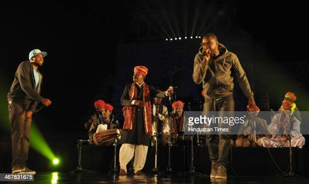 Rajasthan artist Langas and Manganiars and Hety Zambo Colombia perform in fusion during the opening ceremony of 7th Delhi International Arts Festival...